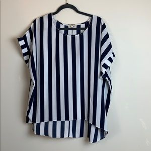 Umgee Blue & White Stripe Shirt